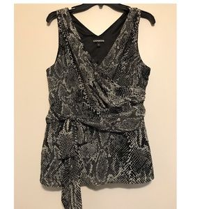 Express chiffon snake print top, large